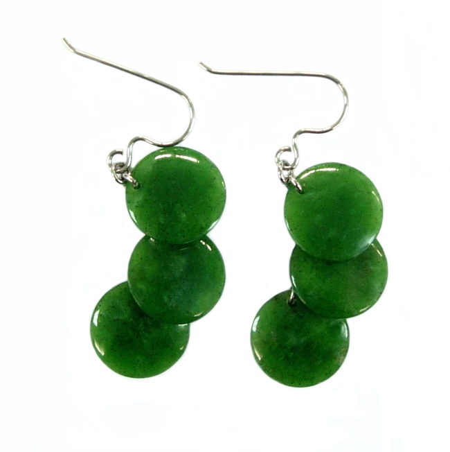 JADE 3 TIERED ROUND DROP EARRINGS 15MM